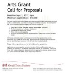 Arts and Youth Grant Deadlines: Sept 1, 2017